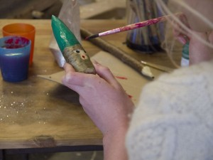 Crafting Christmas elves at Stepney City Farm Crafty Saturday